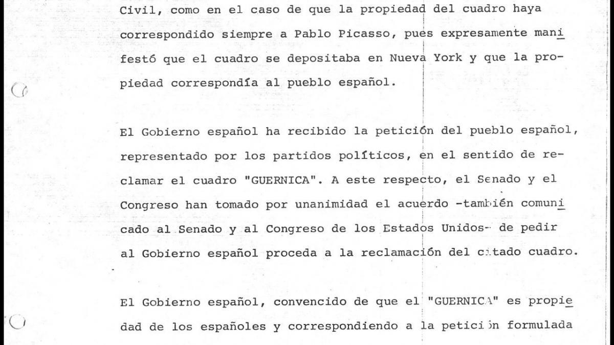 Comunicado del Gobierno español sobre su postura ante la reclamación de Guernica
