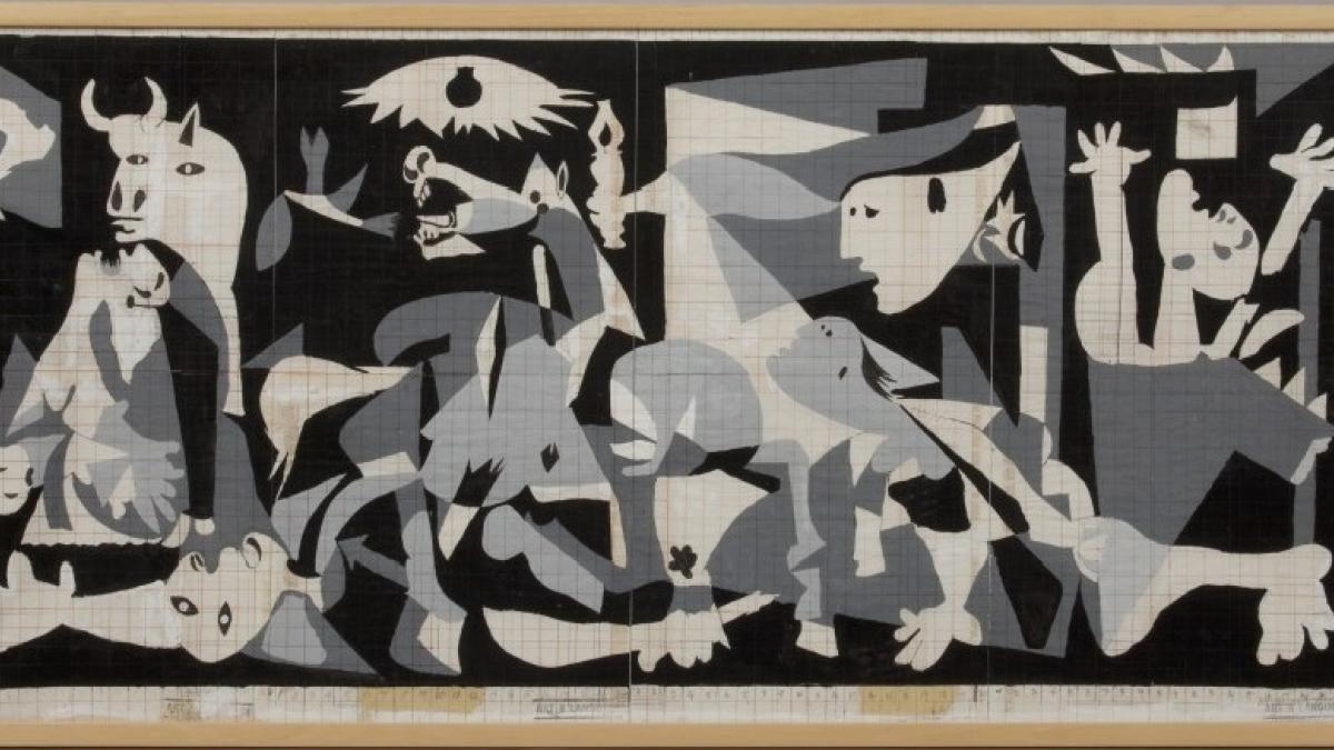"""Estudio para """"El 'Guernica' de Picasso al estilo de Jackson Pollock"""""""