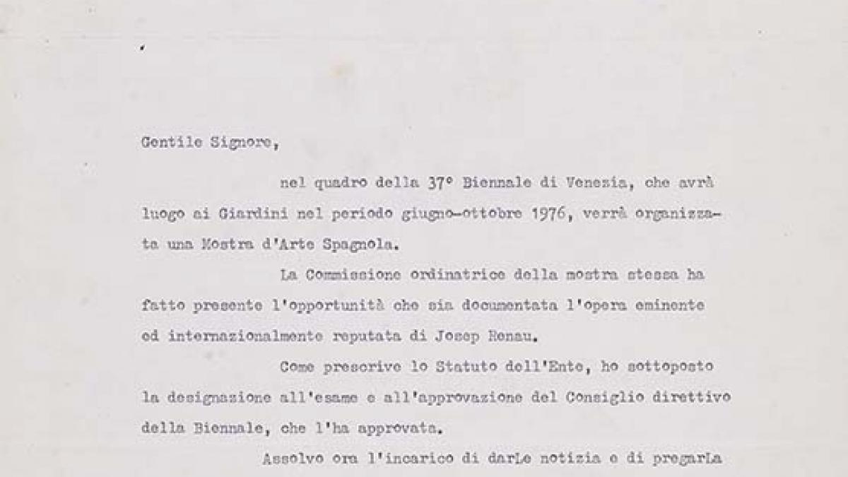 Carta de Carlo Ripa di Meana a Josep Renau