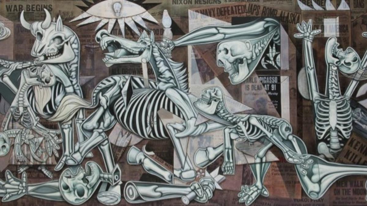 X-Ray Guernica, mural en la Piazza Giustiniani, Roma