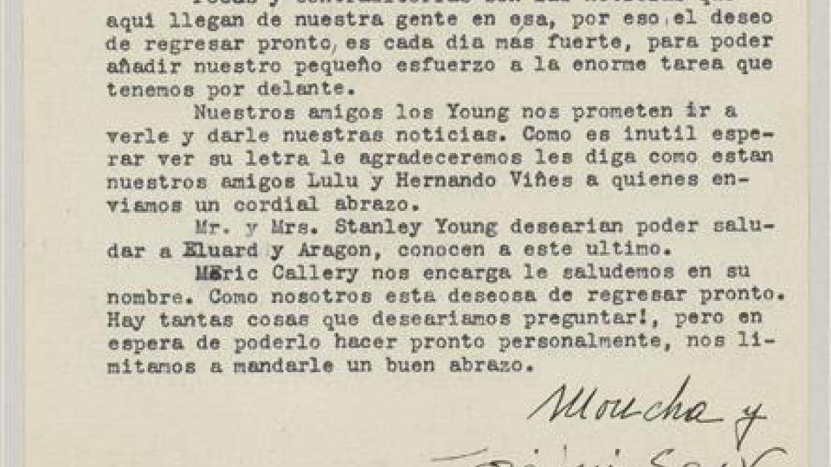 Carta de Josep Lluís Sert a Pablo Picasso de alrededor del 9 de enero de 1939