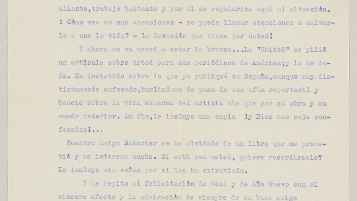 Francisco de Troya's letter to Pablo Picasso, dated 23 November 1939