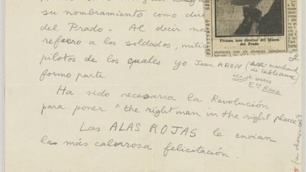 Carta de Francisco Ruiz (Jean Aaron) a Pablo Picasso
