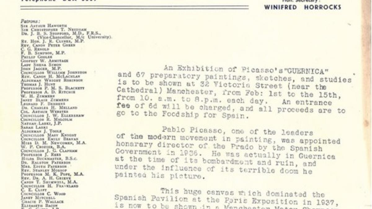 Anuncio de exposición de Guernica en Manchester
