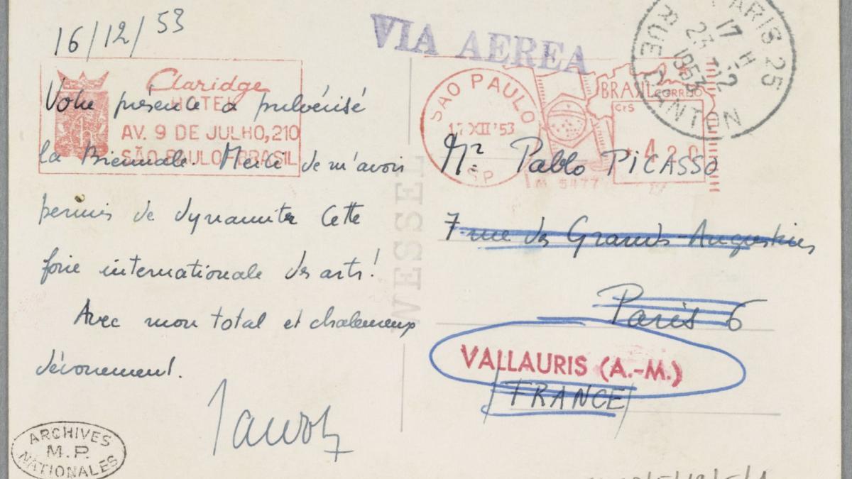Tarjeta postal de Maurice Jardot a Pablo Picasso