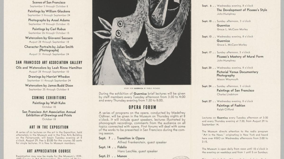 Programa de actividades realizadas en el marco de la exposición Guernica and 59 preparatory studies del San Francisco Museum of Art