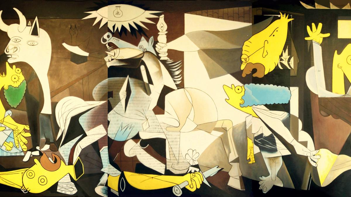 Guernica with characters from the The Simpsons