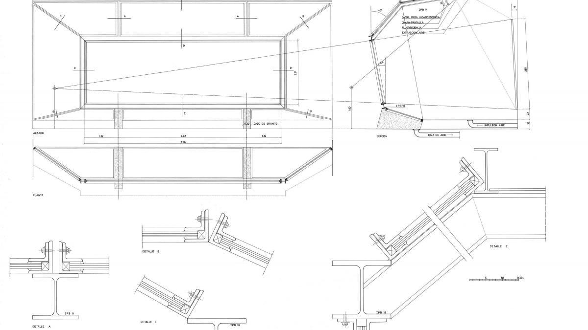 Planos de la urna de vidrio diseñada para proteger Guernica