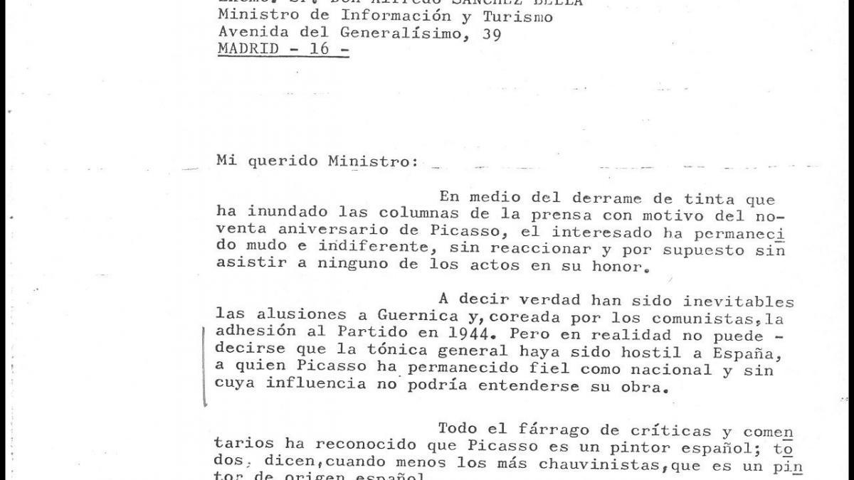 A letter from Luis López Ballesteros to Alfredo Sánchez Bella
