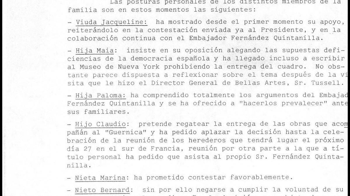 Comunicación de Rafael Fernández Quintanilla sobre la postura de los herederos de Pablo Picasso