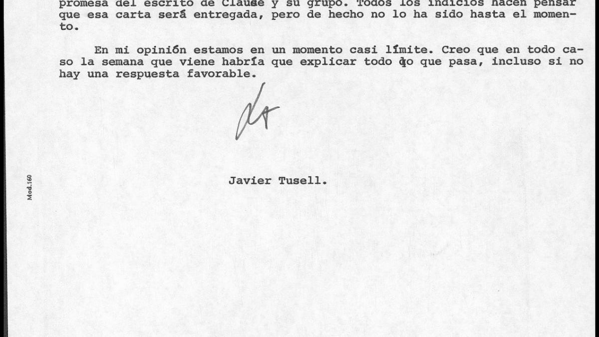 Carta de Javier Tusell a Íñigo Cavero del 4 de febrero de 1981