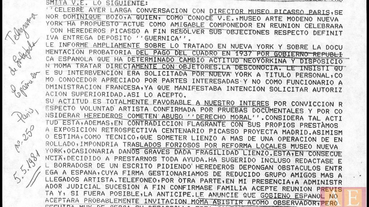 Telegrama de Rafael Fernández Quintanilla