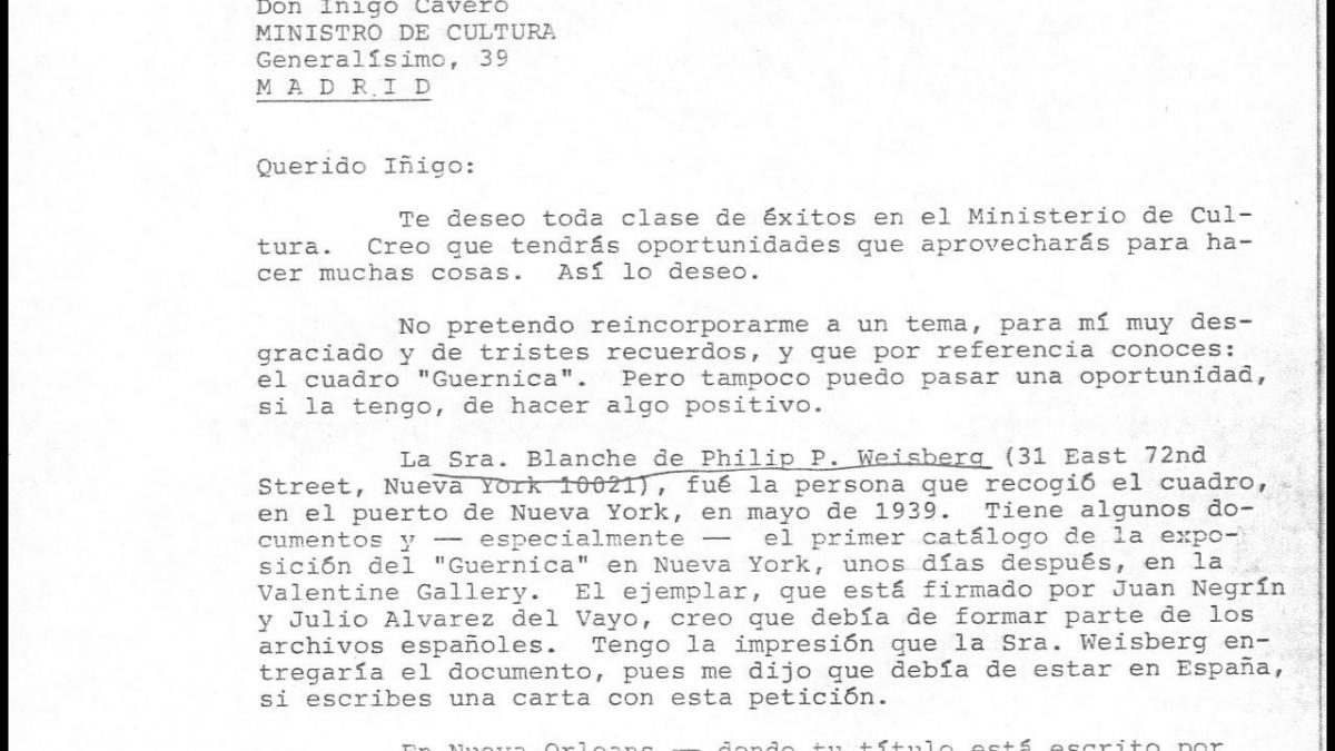 A letter from José Mario Armero to Íñigo Cavero