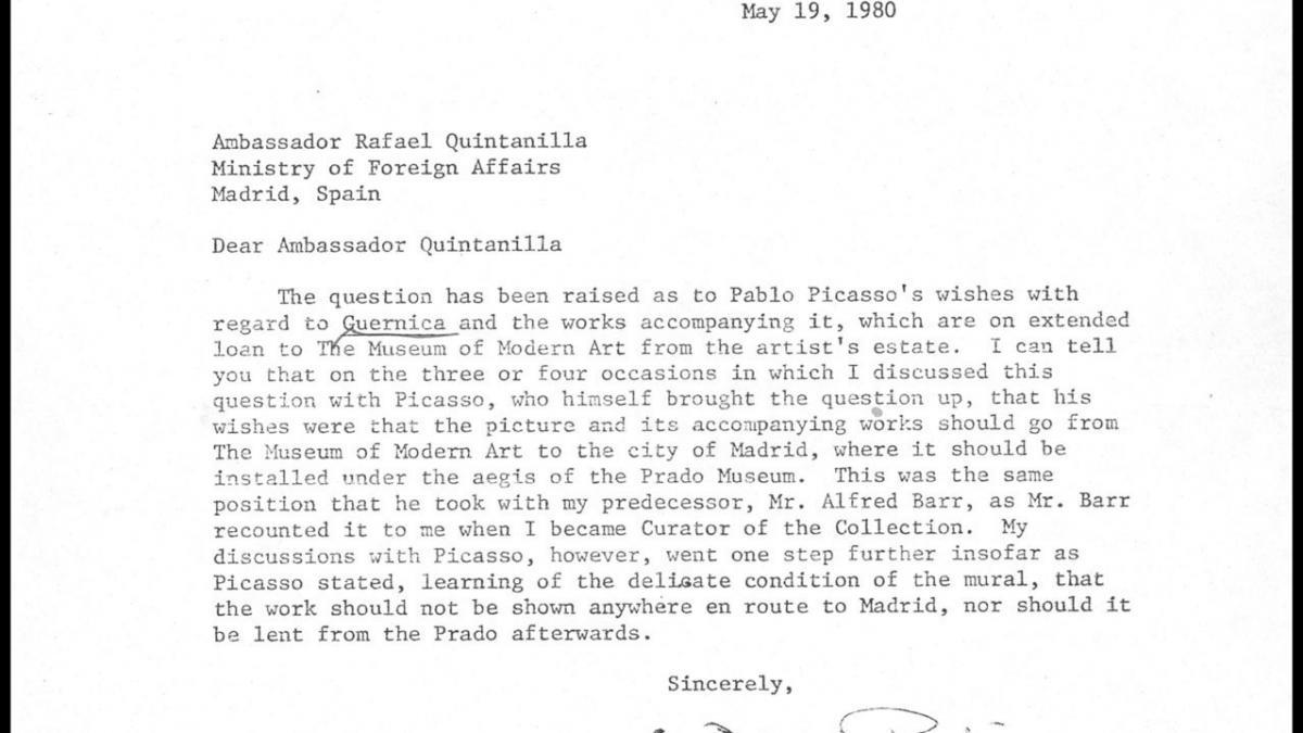 Carta de William Rubin a Rafael Fernández Quintanilla del 19 de mayo de 1980
