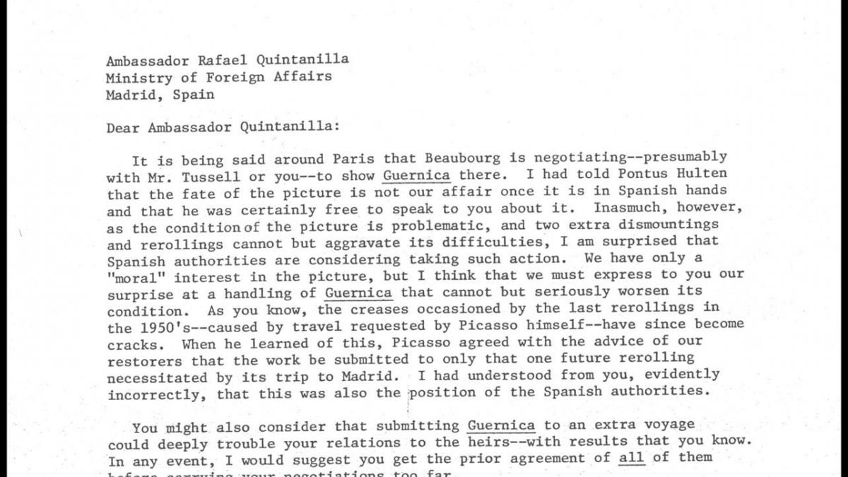Carta de William Rubin a Rafael Fernández Quintanilla del 17 de junio de 1980