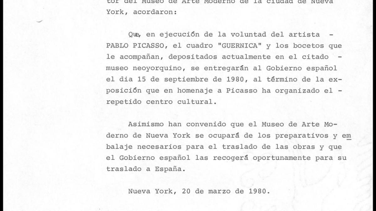An agreement to deliver Guernica to the Spanish government
