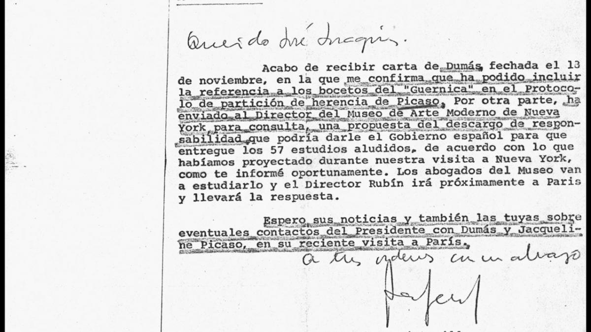 Carta de Rafael Fernández Quintanilla a José Joaquín Puig de la Bellacasa