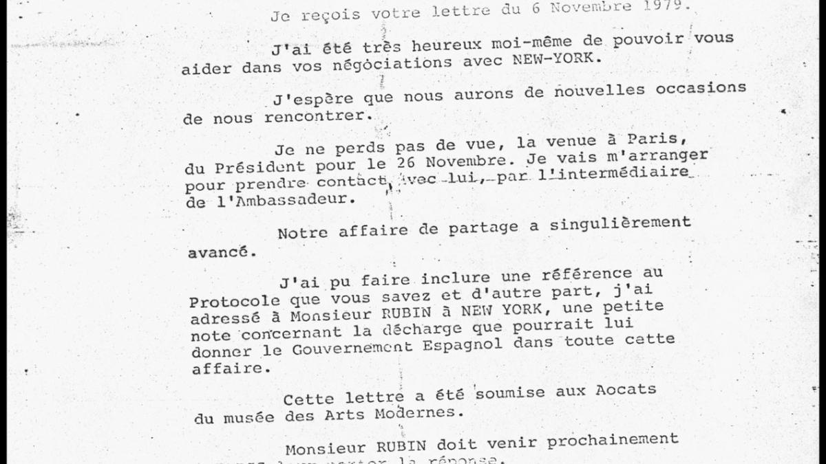 Carta de Roland Dumas a Rafael Fernández Quintanilla