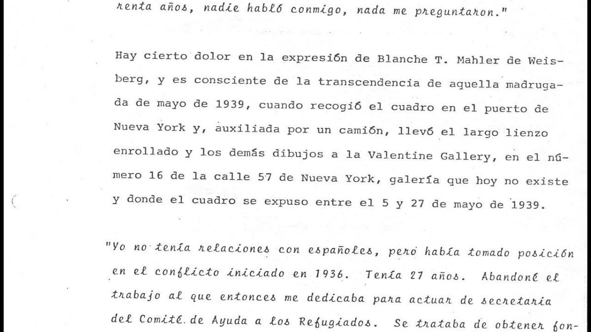 Comentarios a las declaraciones de Blanche Mahler sobre la llegada de Guernica a Nueva York