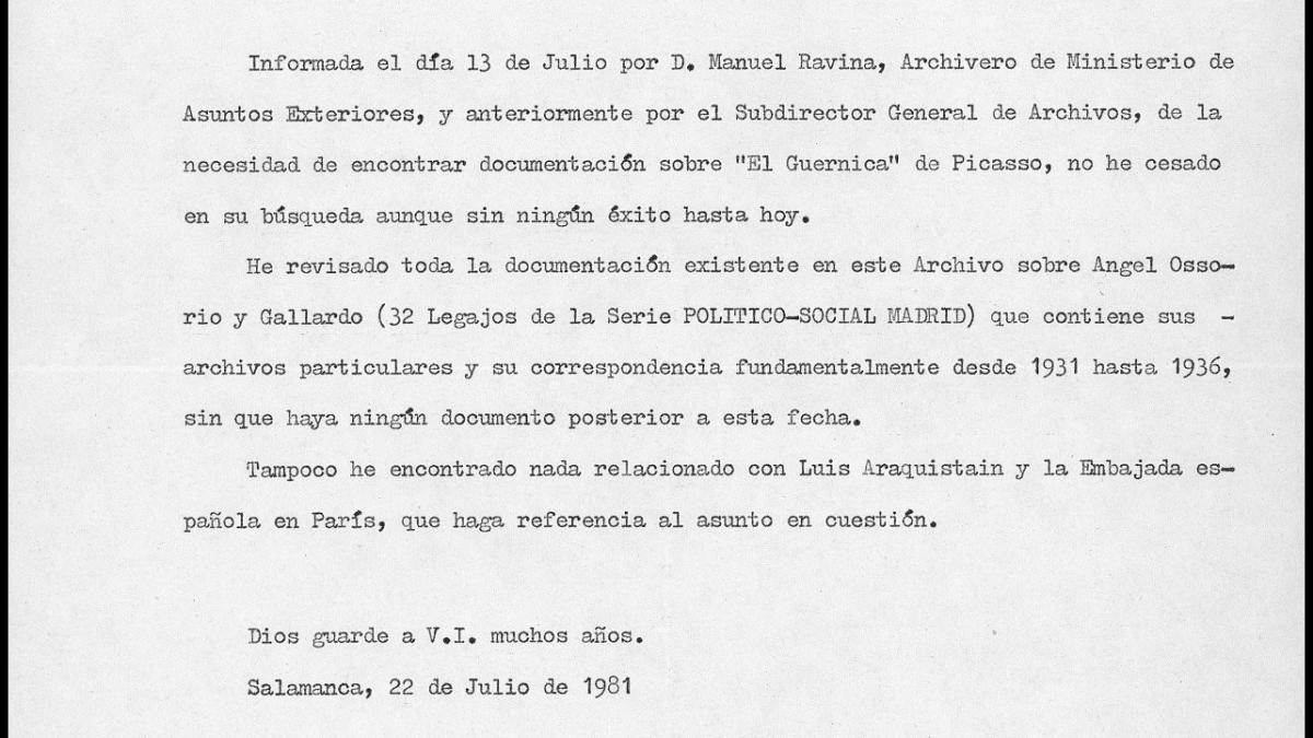 Carta de Mª Teresa Díez de los Ríos a Javier Tusell