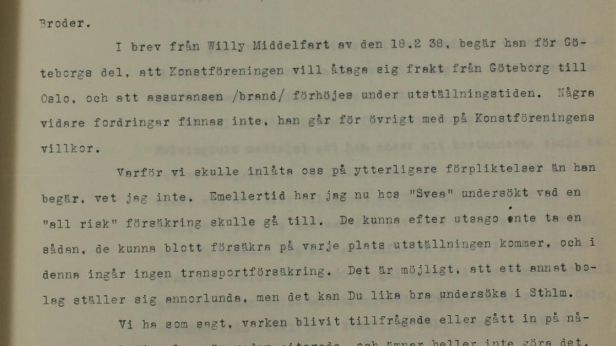 Carta de Tor Bjurstöm a Sven Strindberg del 1 de abril de 1938