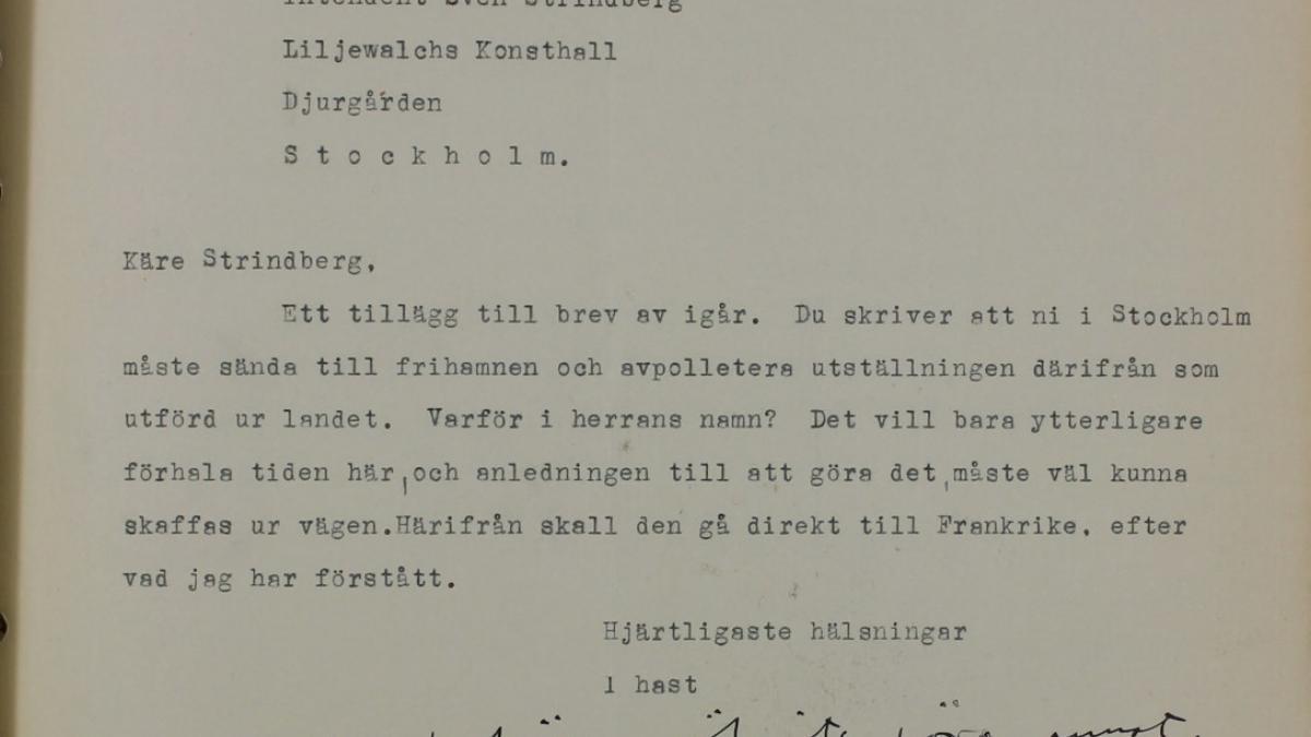 Carta de Tor Bjurstöm a Sven Strindberg del 26 de enero de 1938