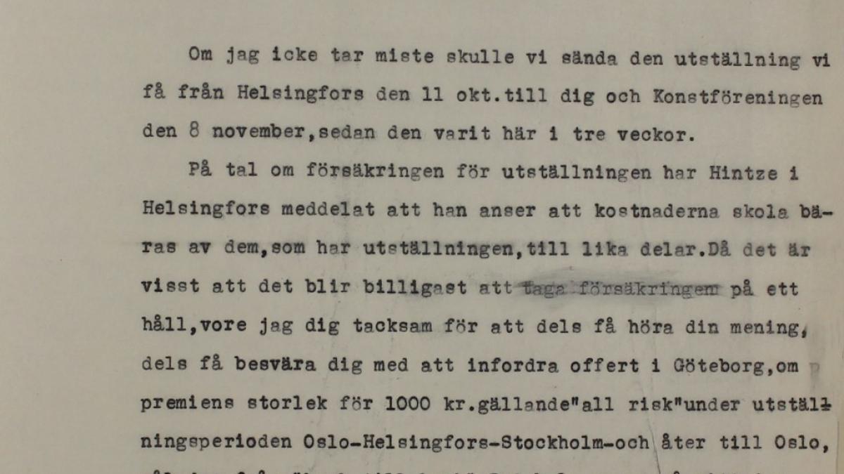 Carta a Tor Bjurstöm