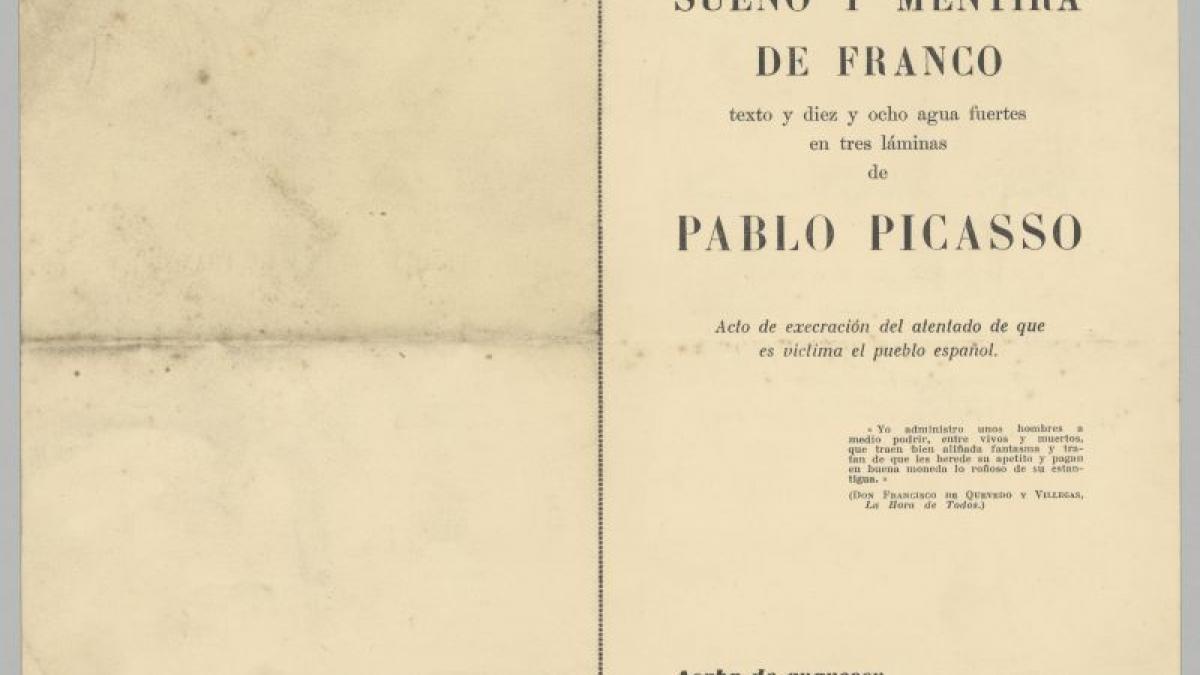 Boletín de suscripción por la compra de Sueño y mentira de Franco de Pablo Picasso