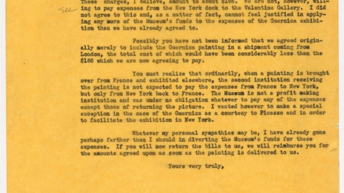 Carta de Alfred H. Barr Jr. a Evelyn Ahrend
