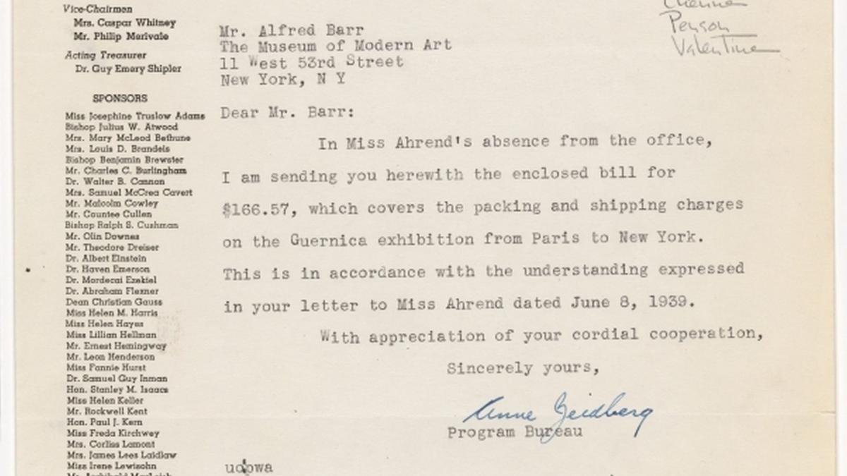 Carta de Anne Beidberg a Alfred H. Barr Jr.