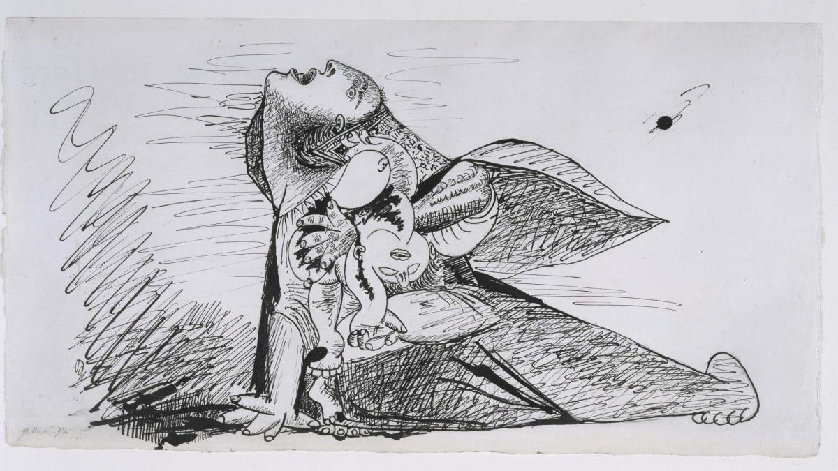 Madre con niño muerto (I). Dibujo preparatorio para Guernica