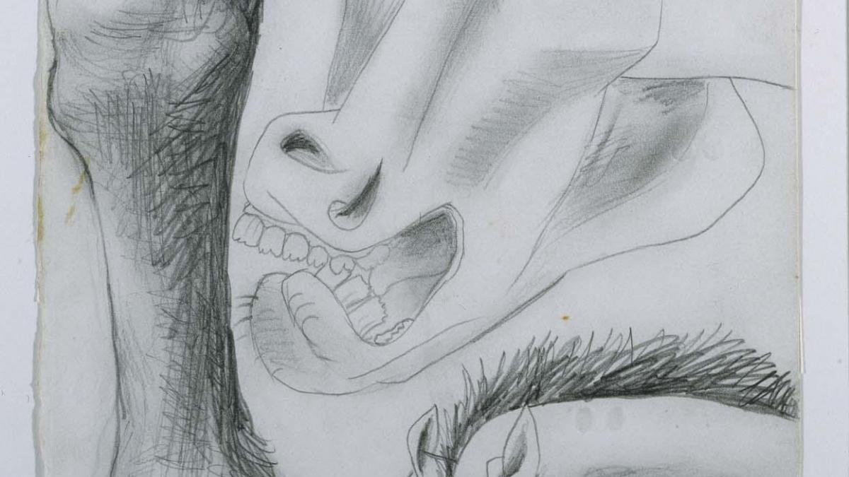 Estudios para el caballo. Dibujo preparatorio para Guernica