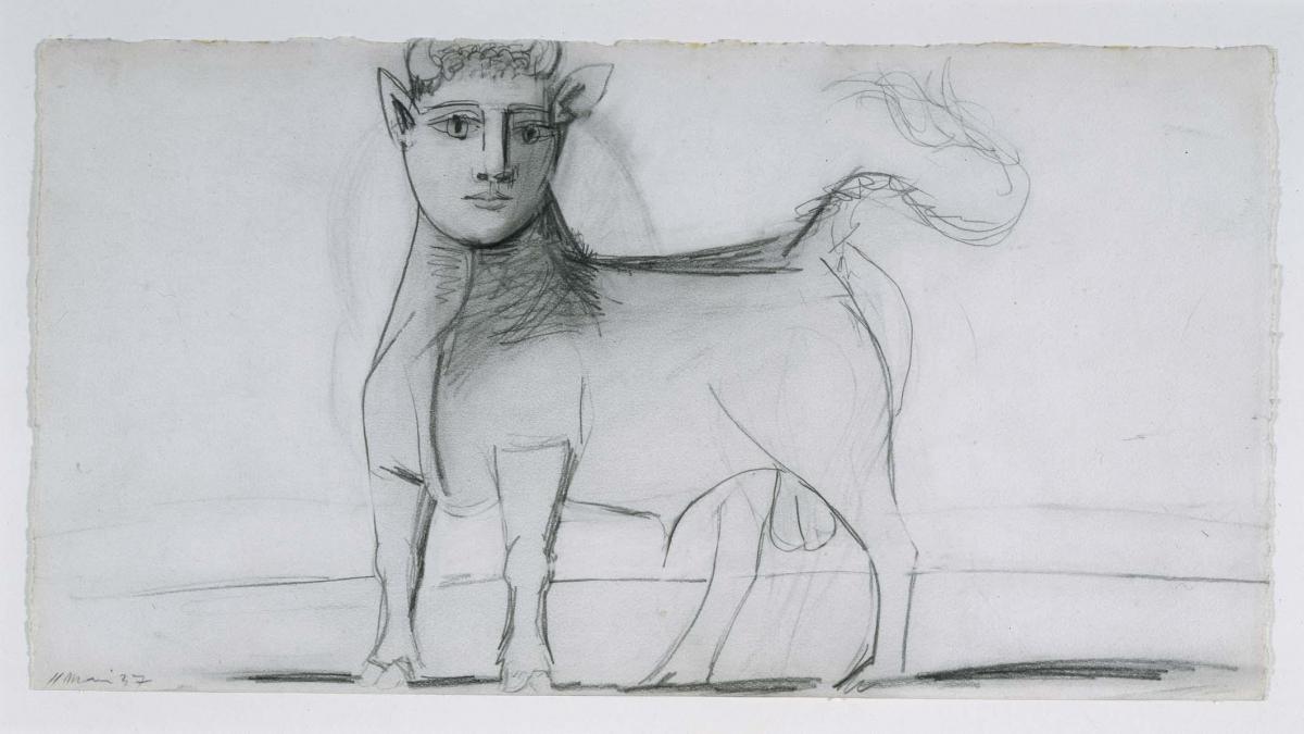 Toro con rostro humano. Dibujo preparatorio para «Guernica»