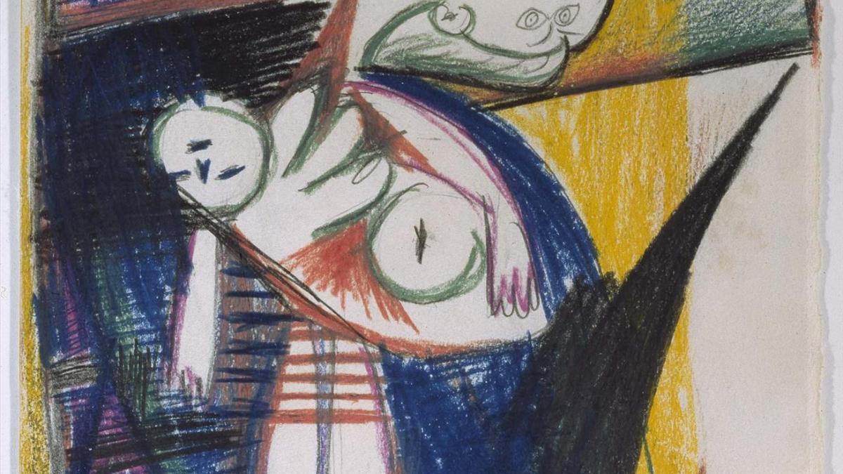 Madre con niño muerto en escalera (II). Dibujo preparatorio para «Guernica»