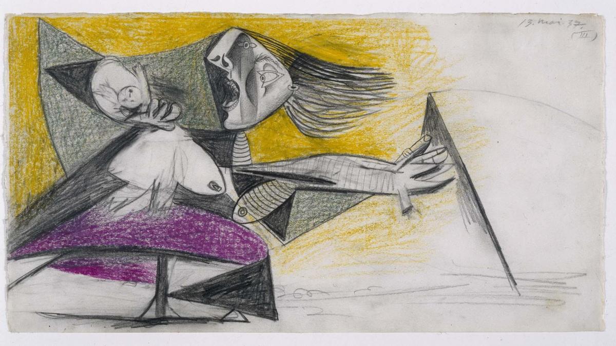 Madre con niño muerto (II). Dibujo preparatorio para «Guernica»
