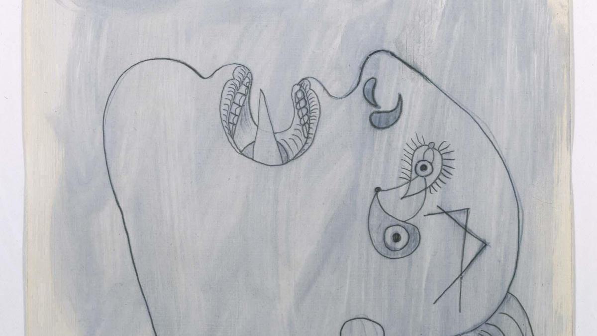 Cabeza de mujer (II). Dibujo preparatorio para «Guernica»