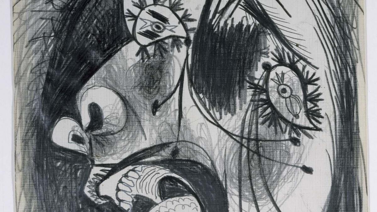 Estudio de cabeza llorando (II). Dibujo preparatorio para «Guernica»