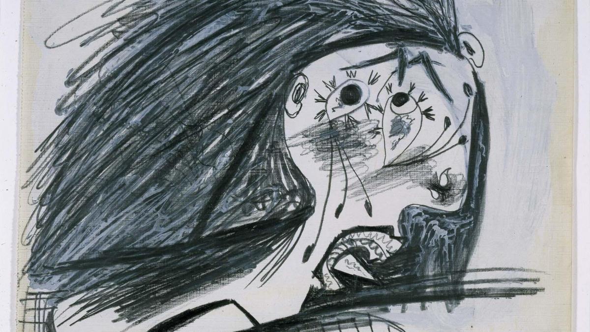 Cabeza llorando (I). Dibujo preparatorio para «Guernica»