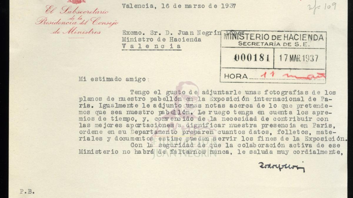 Carta de Rodolfo Llopis a Juan Negrín