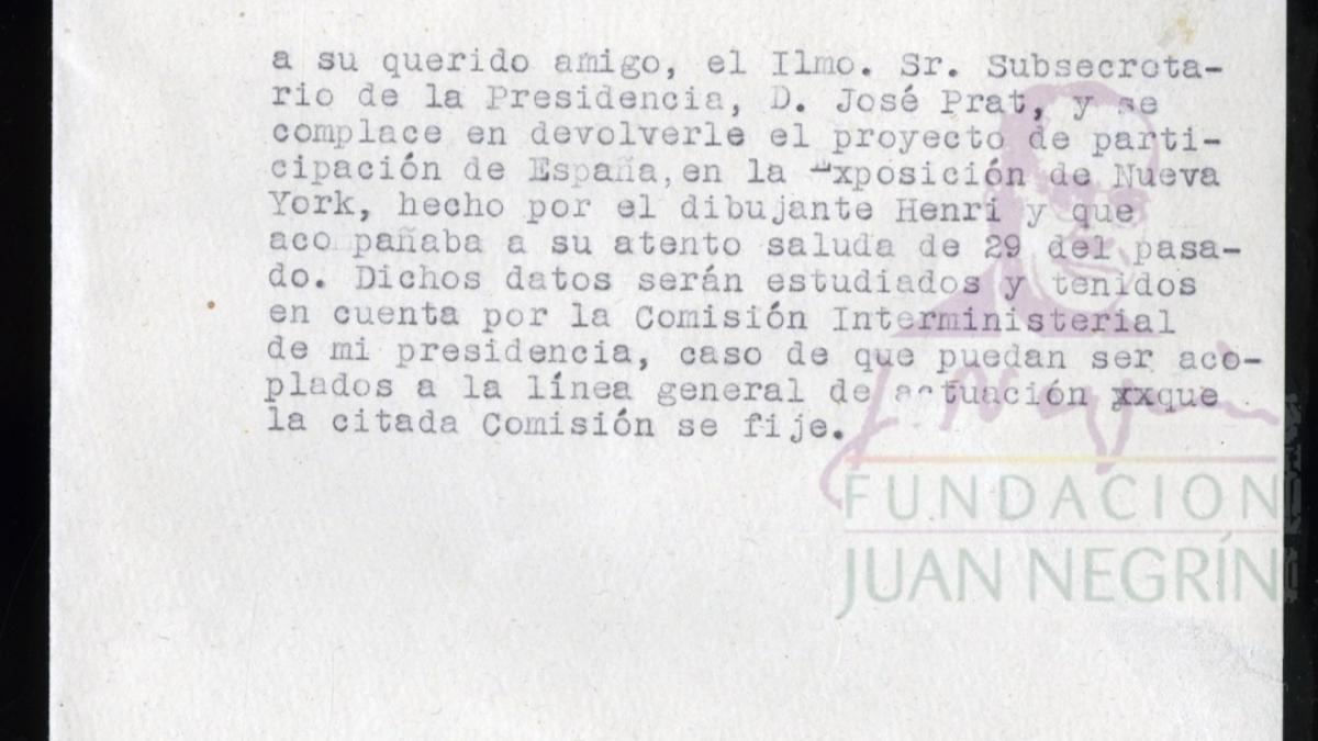 Letter from Manuel Sánchez Arcas to José Prat