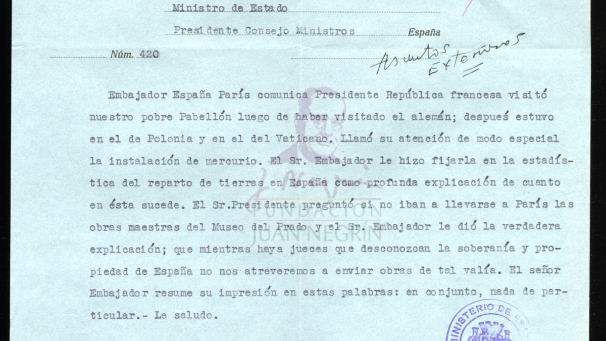 Telegram from the Embassy of Spain in France to the Minister of State