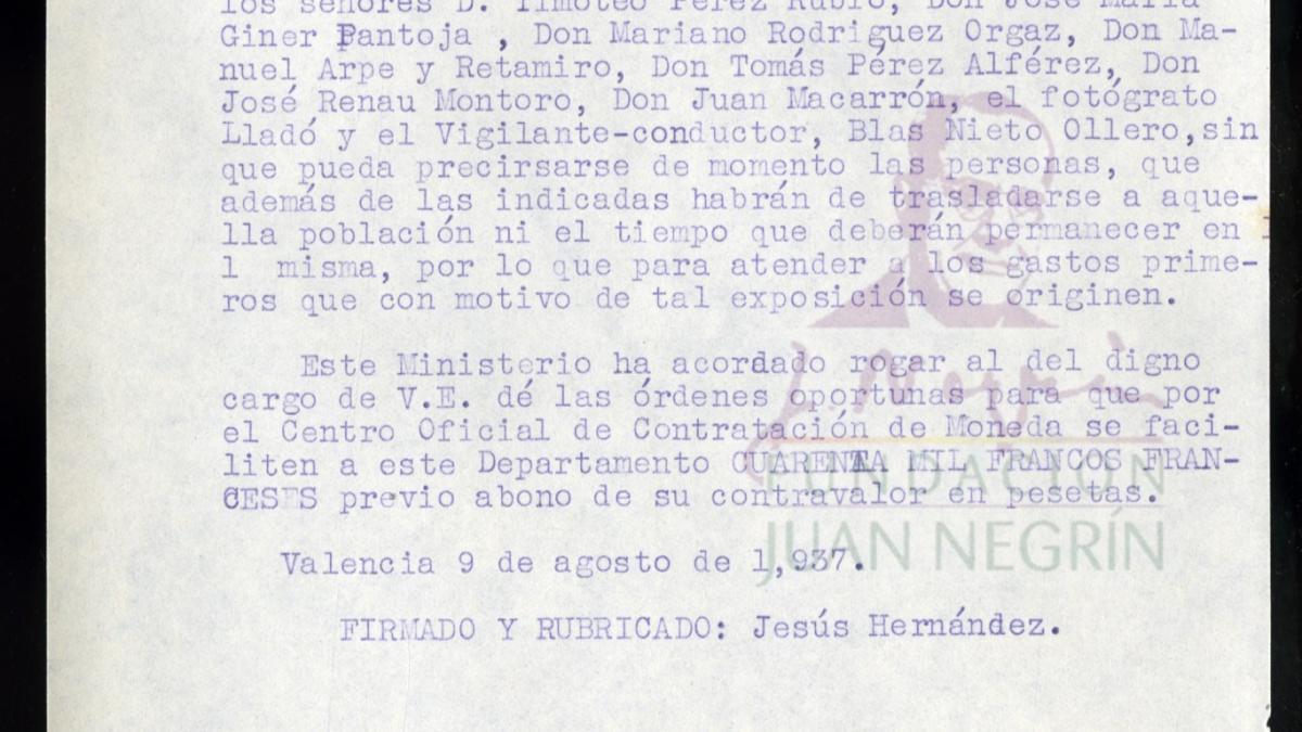 Carta de Jesús Hernández a Juan Negrín