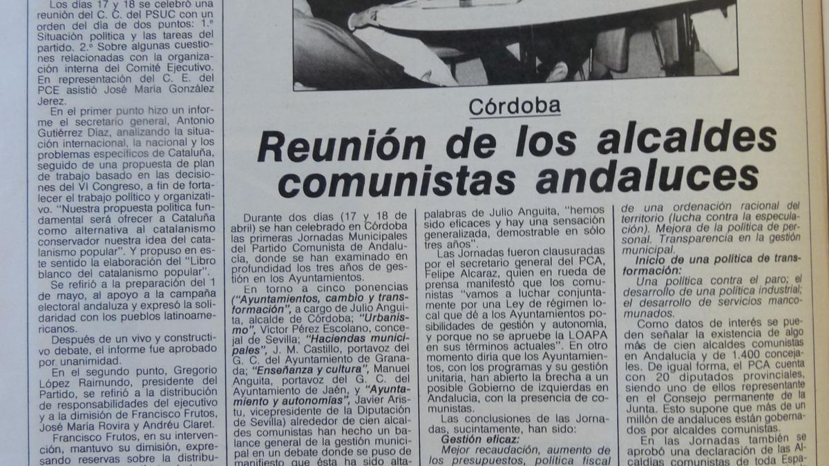Córdoba. Reunión de los alcaldes comunistas andaluces