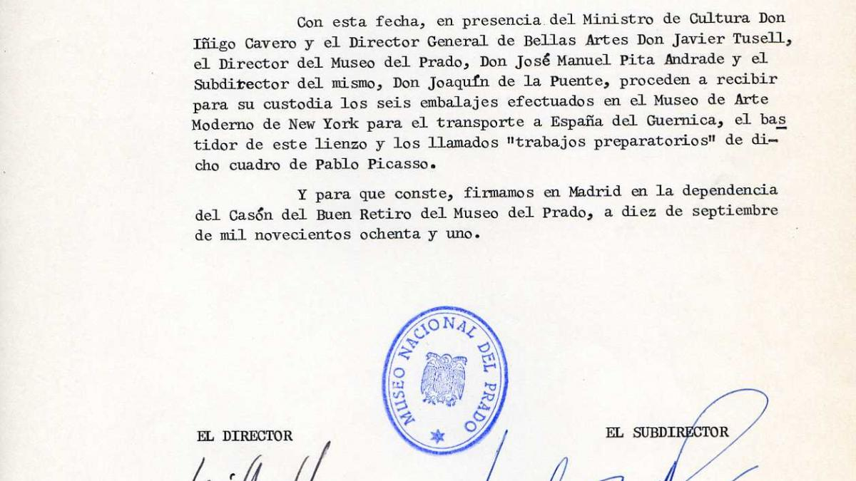 Certificate for the reception of Guernica, and its stretcher and related works