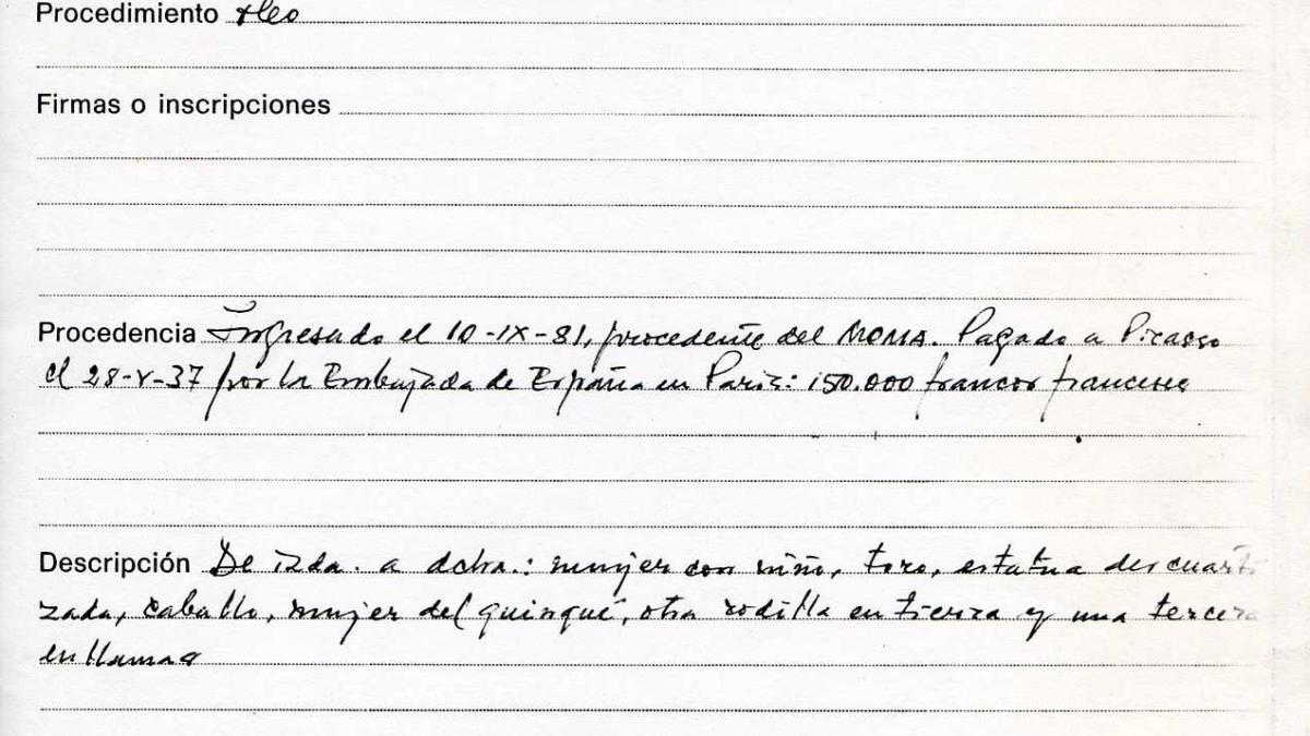 Registration sheet for the Picasso works deposited at the Casón, including Guernica