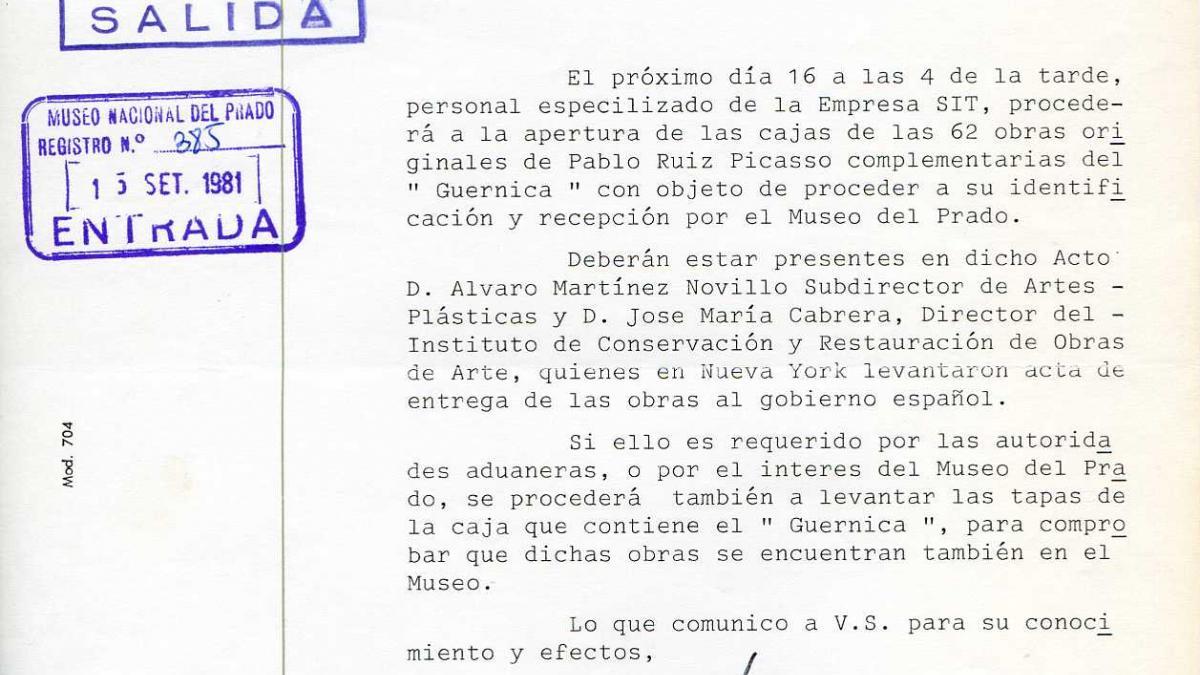 Oficio de la Dirección General de Bellas Artes Archivos y Museos a José Manuel Pita Andrade
