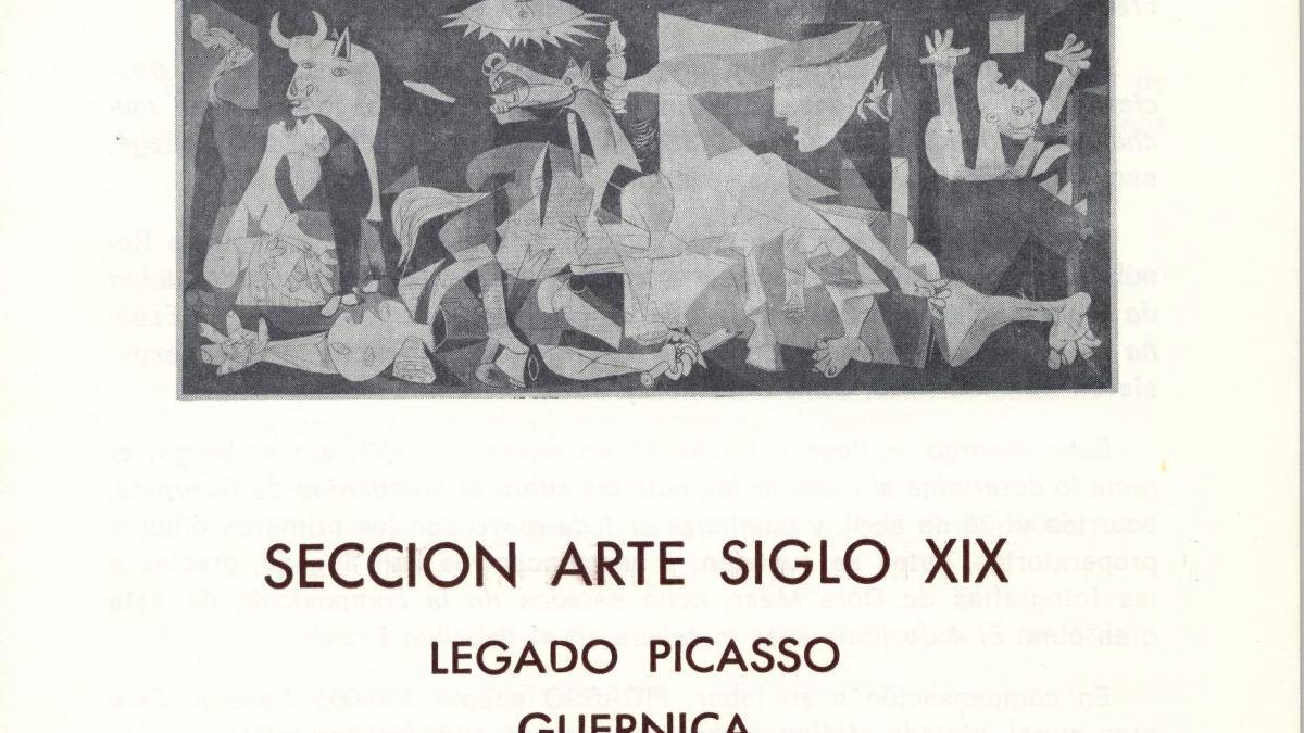 Hoja didáctica de la Sección de Arte Siglo XIX, Legado Picasso, Guernica, elaborada por el Gabinete Didáctico