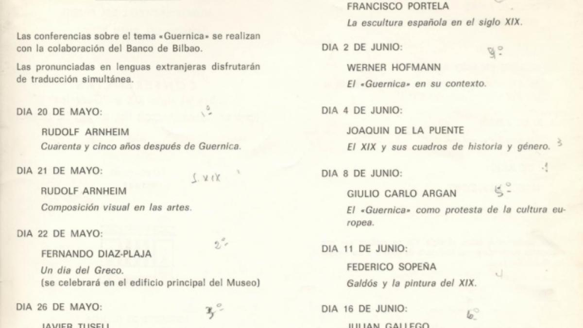 Lectures on the 19th century and Guernica given as part of the Missions of Art programme held at the Museo Nacional del Prado from May to June 1982