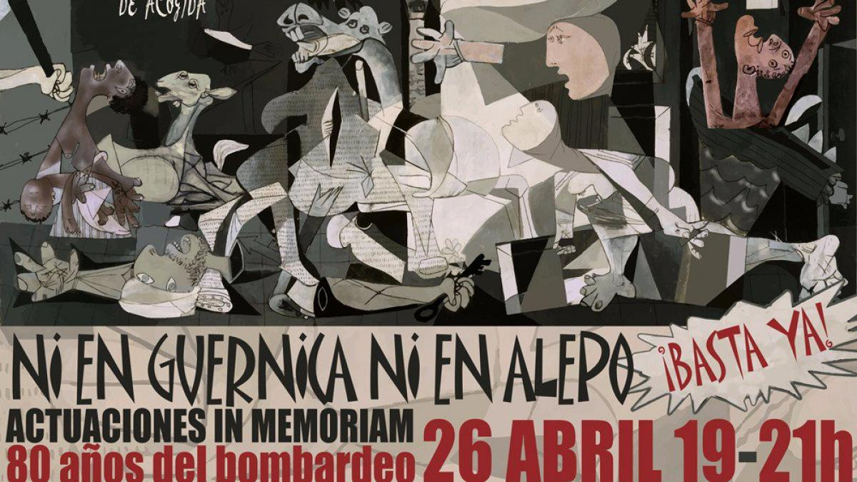 """Poster for the act """"Not in Guernica and not in Aleppo"""""""