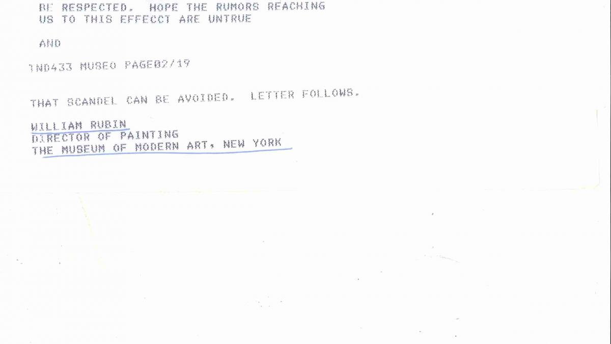 Correspondencia entre William Rubin y Alfonso E. Pérez Sánchez
